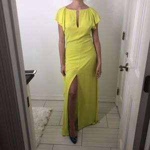 Neon yellow evening gown